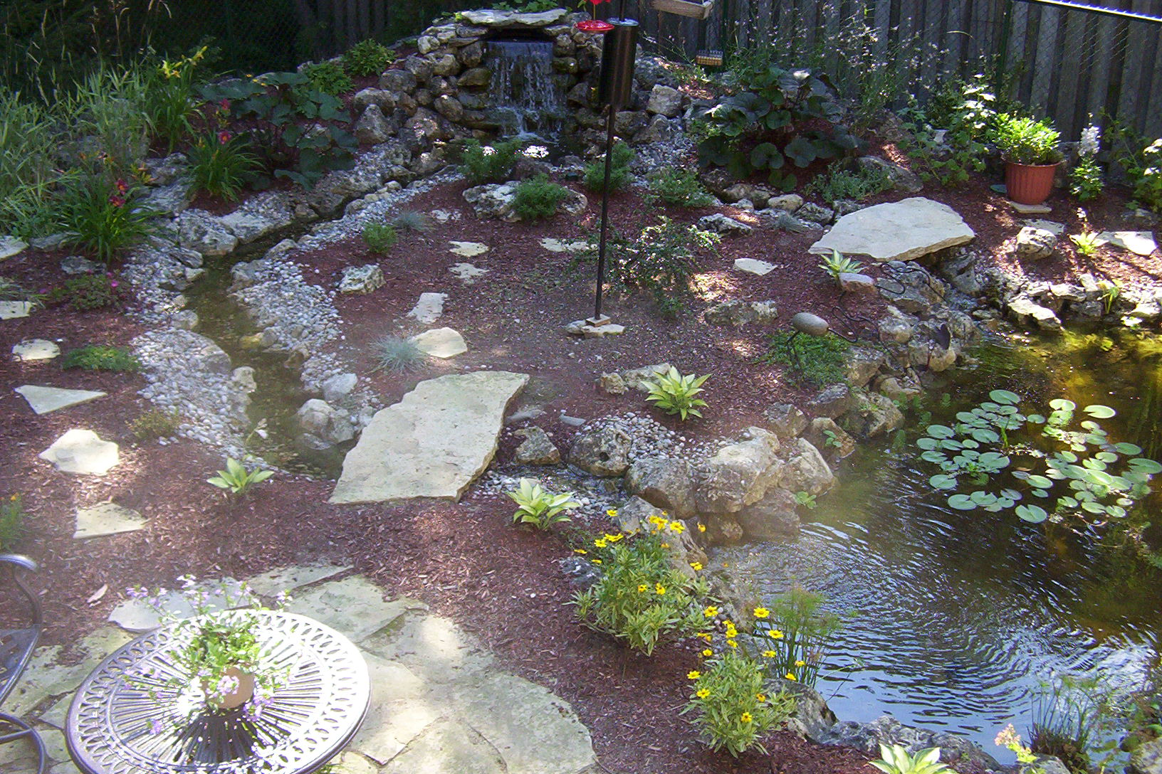 5 most inspiring backyard ponds sweeney feeders for Patio koi pond